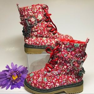 Link Red Floral Chain Girls Lace Up Boots Size 8